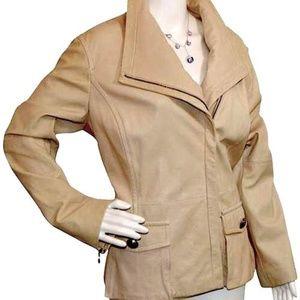 St. John Beige Zip Front Lambskin Jacket Size: 12